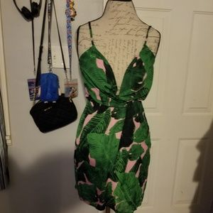 Misguided green and pink dress